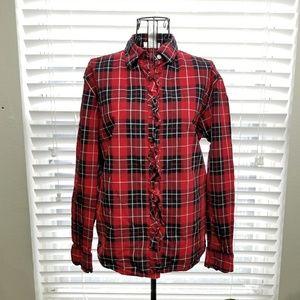 Jones New York Plaid Button Down Long Sleeve Shirt